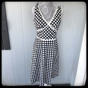 Madison Leigh Dress B/W Polka Dot Slvls A line 14